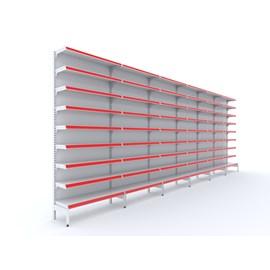 Kit de Farmácia com 6 Gôndolas 2.20m altura 1 inicial +5 continuações PORTA ETIQUETAS AZUIS